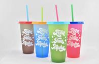 Zeta Tau Alpha ZTA Sorority Set of 4 Color Changing Cups
