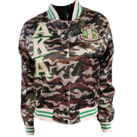 Alpha Kappa Alpha AKA Sorority Satin Jacket- Camoflauge