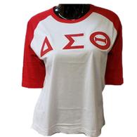 Delta Sigma Theta Sorority Baseball Shirt-White/Red