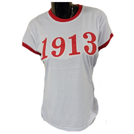 Delta Sigma Theta Sorority Ringer T-shirt- Founding Year- White