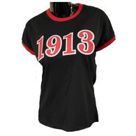 Delta Sigma Theta Sorority Ringer T-shirt- Founding Year- Black