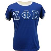 Zeta Phi Beta Sorority Ringer T-shirt-Blue