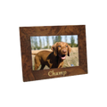 "Beautiful 4"" x 6"" wood photo frame with camel shell motif. Personal engraving included."
