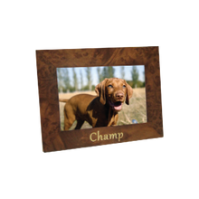 """Beautiful 4"""" x 6"""" wood photo frame with camel shell motif. Personal engraving included."""