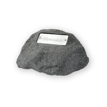 Polymer garden rock urn designed for outdoor use. Personalization is included. Estimated to hold the remains of a pet up to 150 lbs.
