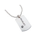 "Nothing is more current and popular than a dog tag necklace! This sleek and stylish stainless steel dog tag pendant is a must have for any jewelry wearer. Have your dog tag engraved with a name or message to make it even more special and unique! This necklace comes with a 24"" chain."