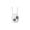 "Keep the memories close with a beautiful oval sterling silver pendant with two paw prints.  This pendant holds a small portion of cremated remains, and it includes an 18' high quality chain.  Dimensions of Pendant - 3/4"" x 5/8""."