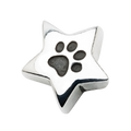 A beautiful sterling silver star charm with one paw print to honor your beloved pet in a unique way.  Fits any 2.8 mm bracelet, including the PR109B NozyPaws Bracelet.  Does not hold cremated remains.