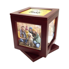"This unique product has a swivel base and displays up to five photos.  It also includes a laser-engravable plate that will fit any of the picture frames on the urn.  The small urn holds up to five 4"" photos, has a 100 cubic inch capacity and holds up to a 90 lb. pet.  Outside dimensions - 5.5"" x 5.5"" x 6.75"". The large urn holds up to five 5"" photos, has a 200 cubic inch capacity and holds up to a 200 lb. pet.  Outside dimensions - 6.75"" x 6.75"" x 7.75""."