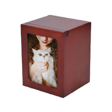 "Beautiful and modern Cherry Photo Urn.   Small - 25 cu inches - Holds up to up to a 15lb. pet (5"" x 3.75"" x 3.5"") Holds Approx. 3"" x 4"" Photo Medium - 40 cu inches - Holds up to a 30 lb. pet (5.5"" x 4"" x 4.25"")  Holds Approx. 3"" x 5"" Photo Large - 85 cu inches - Holds up to a 75 lb pet (6.75"" x 4.75"" x 5"")  Holds Approx. 4"" x 6"" Photo XL - 200 cu inches - Holds up to 100+ lb. pet (10"" x 7"" x 5"") Holds Approx. 6"" x 8"" Photo Price Includes Engraving of up to 3 Lines of Text"