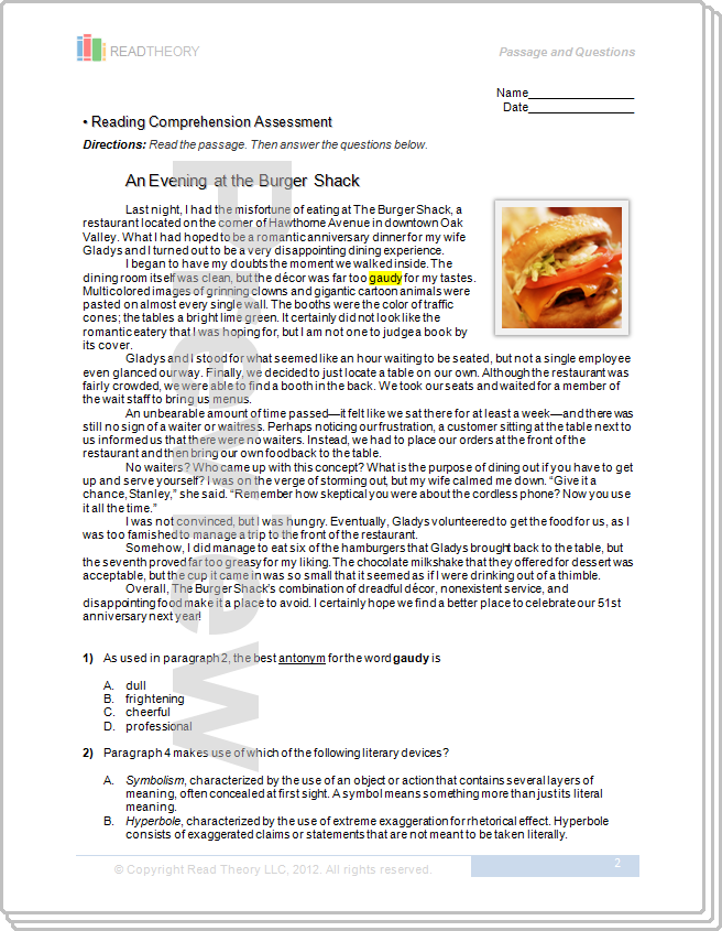 An Evening At The Burger Shack 8g 1000l Read Theory Workbooks