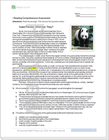 """""""Giant Pandas: What Are They?"""" - 11G / 1150L"""