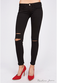 Knee Slit Frayed Edge Skinny Jean - Black - FINAL SALE