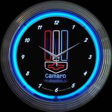GM CAMARO RED, WHITE & BLUE NEON CLOCK