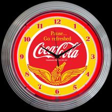 COCA-COLA® WINGS NEON CLOCK