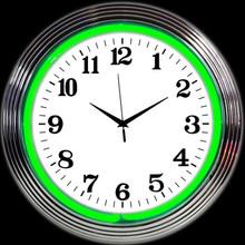 CHROME GREEN STANDARD NEON CLOCK