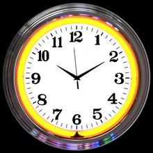 CHROME ORANGE STANDARD NEON CLOCK