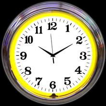 CHROME YELLOW STANDARD NEON CLOCK
