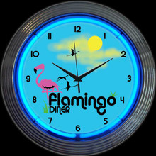 FLAMINGO DINER NEON CLOCK