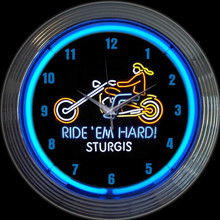 MOTORCYCLE RIDE EM HARD STURGIS NEON CLOCK