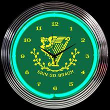 ERIN GO BRAGH IRISH NEON CLOCK
