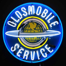 OLDSMOBILE SERVICE NEON SIGN WITH SILKSCREEN BACKING