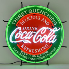 "COCA-COLA EVERGREEN ROUND 24"" NEON SIGN"
