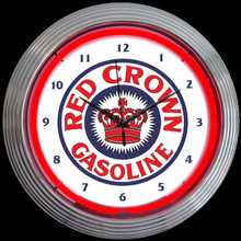RED CROWN GASOLINE NEON CLOCK