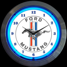 FORD MUSTANG BLUE NEON CLOCK