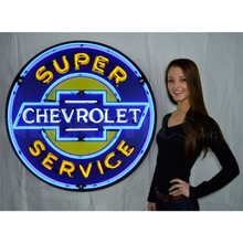 SUPER CHEVY SERVICE 36 INCH NEON SIGN IN METAL CAN