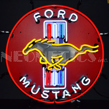 FORD MUSTANG RED NEON SIGN WITH BACKING
