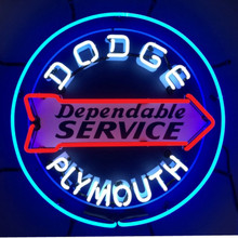 DODGE SERVICE NEON SIGN WITH BACKING