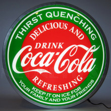 "COCA-COLA EVERGREEN 15"" BACKLIT LED LIGHTED SIGN"