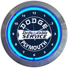 DODGE DEPENDABLE SERVICE NEON CLOCK