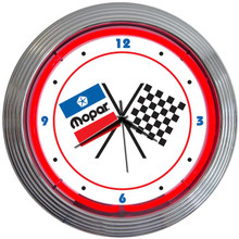 MOPAR CHECKERED FLAGS NEON CLOCK