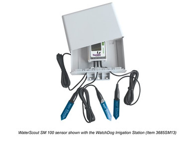 WaterScout SM 100 Sensor shown with the WatchDog Irrigation station
