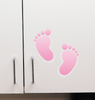 Baby footprints applied to cabinet