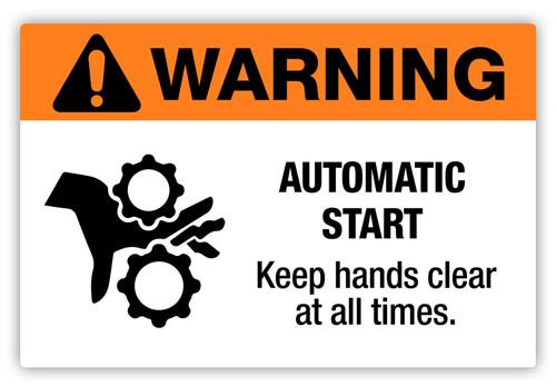Warning - Automatic Start Label