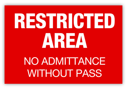 Restricted Area w/o Pass Label (Red)