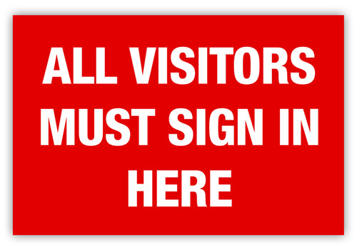 Visitors Sign In Label