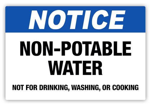 Notice - Non-Potable Water Label
