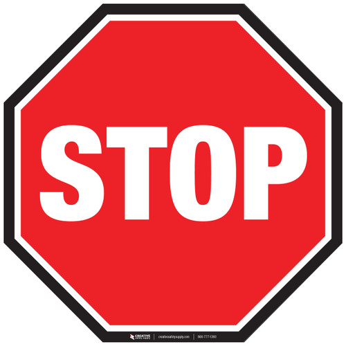 Floor Sign - Stop Sign With Black Border