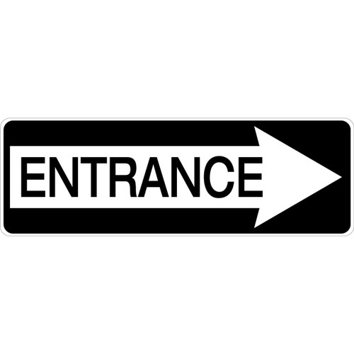 Entrance Sign.  Aluminum sign with arrow pointing right.