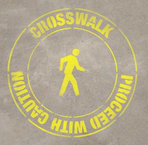 Crosswalk- Proceed with Caution - Stencil