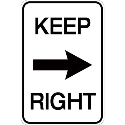 Keep Right (with arrow) - Aluminum Sign