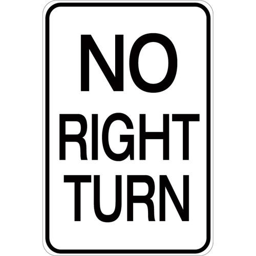 No Right Turn - Aluminum Sign