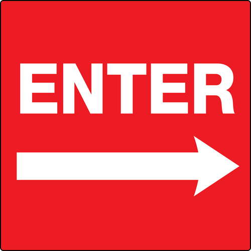 Enter Sign - Red with Right Arrow
