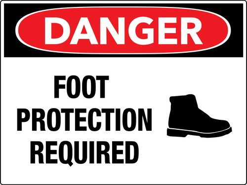 Danger Foot Protection Required Wall Sign