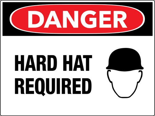 Danger Hard Hat Required Wall Sign
