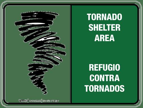 Bilingual Tornado Shelter Area Wall Sign